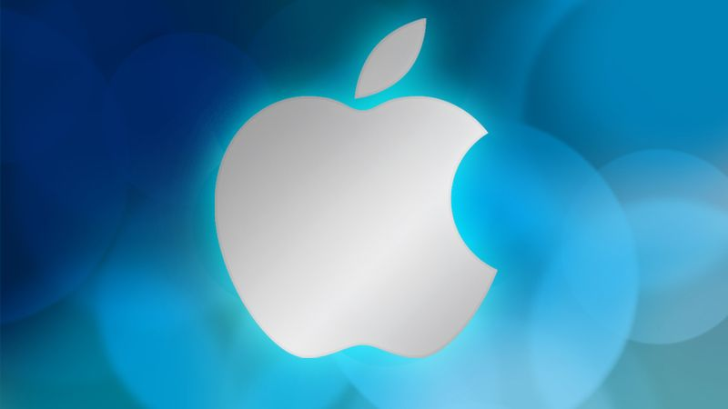 apple logo on blue abstract